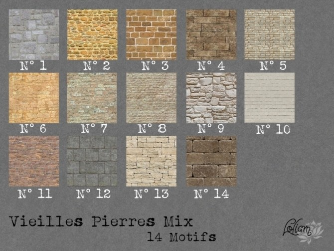 OLD STONE MIX walls by loliam at Sims Artists image 2063 670x503 Sims 4 Updates