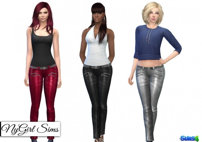 High Shine Zippered Leather Pant at NyGirl Sims image 2095 670x473 Sims 4 Updates