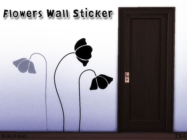 Sims 4 Flowers Wall Sticker by Melinda Space at TSR