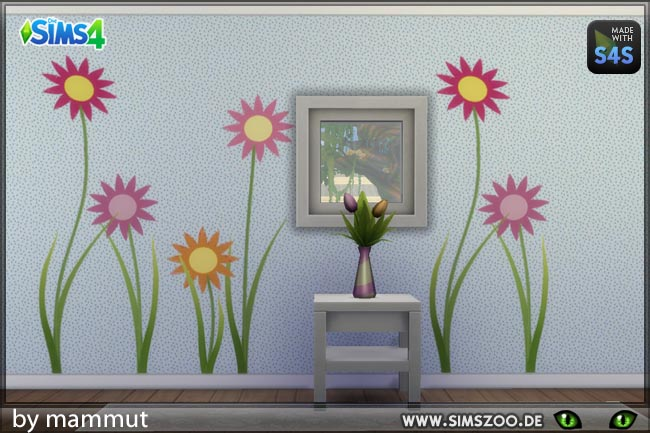 Sims 4 Flower wall decals by Mammut at Blacky's Sims Zoo