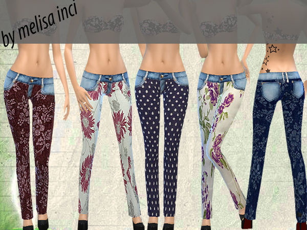 Floral Jeans by melisa inci at TSR image 2213 Sims 4 Updates