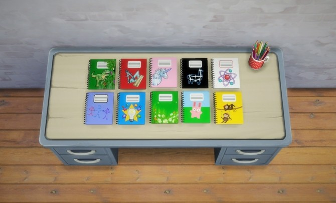 Sims 4 Notebook and jars recolors at Budgie2budgie