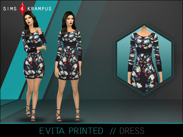 Sims 4 Evita Printed Dress by SIms4Krampus at TSR