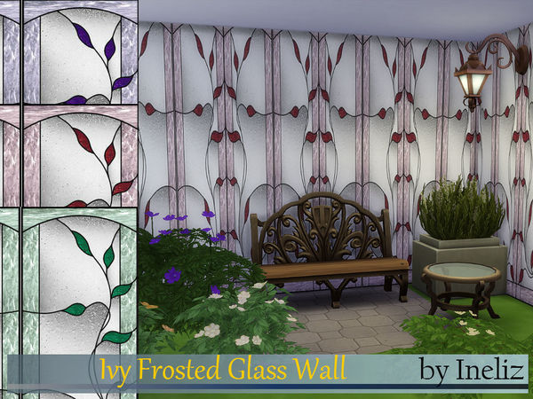Sims 4 Ivy Frosted Glass Wall by Ineliz at TSR