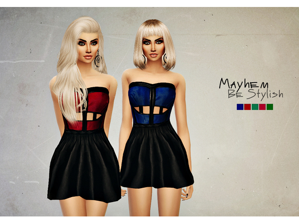 Sims 4 Strapless Dress by NataliMayhem at TSR