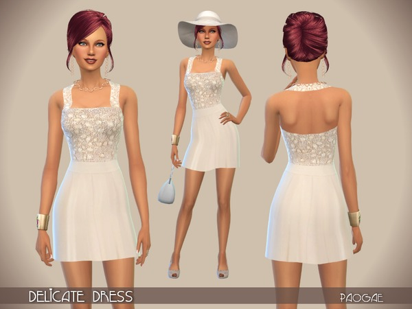 Sims 4 Delicate Dress by Paogae at TSR