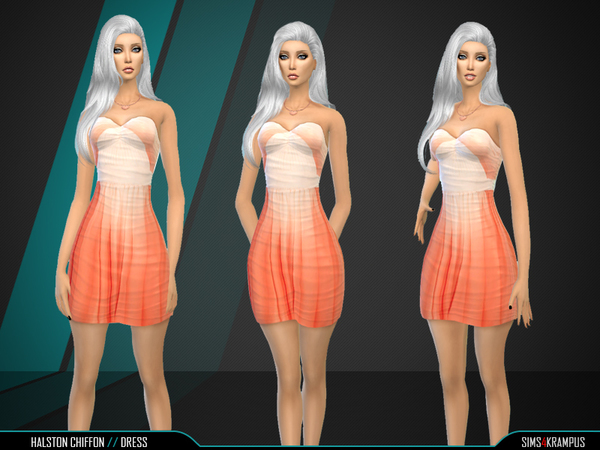 Sims 4 Halston Chiffon Dress by SIms4Krampus at TSR