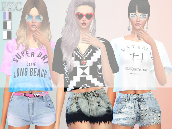 Sims 4 Ombre Lover Tops, Shorts and Nails by Pinkzombiecupcakes at TSR