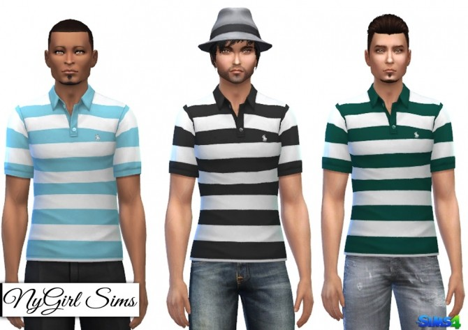 Sims 4 White Striped Polo V1 at NyGirl Sims