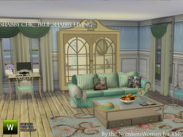 Sims 4 True Shabby Chic Living by TheNumbersWoman at TSR