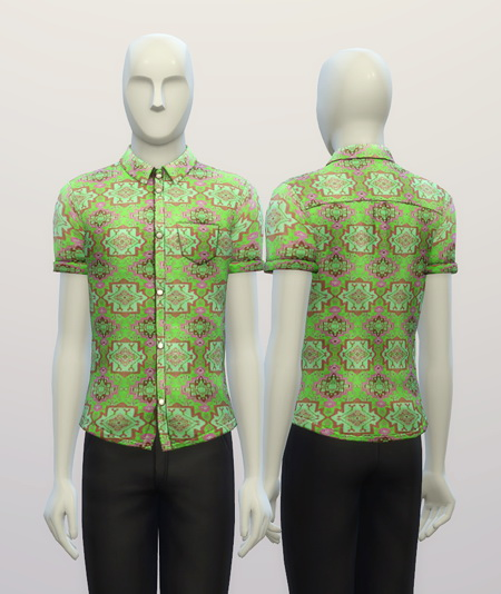 Cuffed Hippie patterned shirt at Rusty Nail image 308 Sims 4 Updates