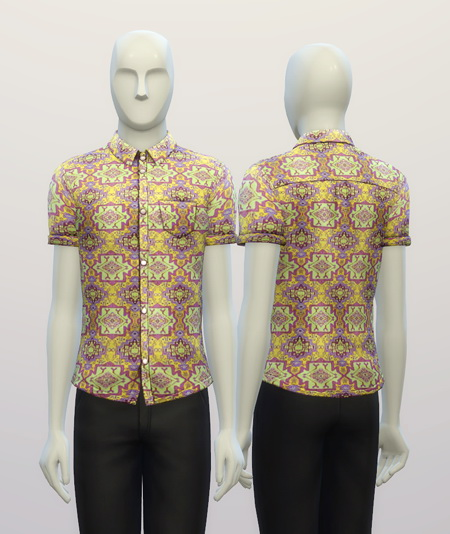 Cuffed Hippie patterned shirt at Rusty Nail image 3113 Sims 4 Updates