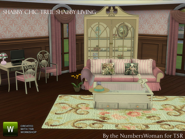 true shabby chic living by thenumberswoman at tsr sims 4 updates. Black Bedroom Furniture Sets. Home Design Ideas