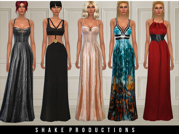 Sims 4 4 stylish gowns by ShakeProductions at TSR