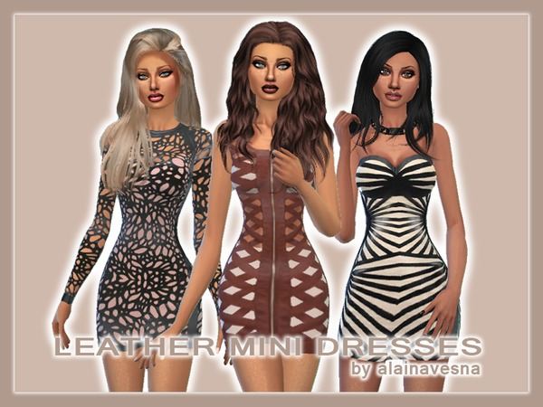 Leather Mini Dresses by alainavesna at TSR image 3424 Sims 4 Updates