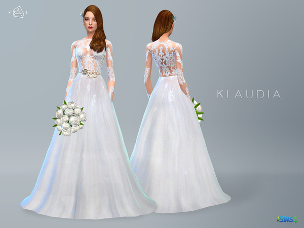 Sims 4 Lace Wedding Dress KLAUDIA by starlord at TSR