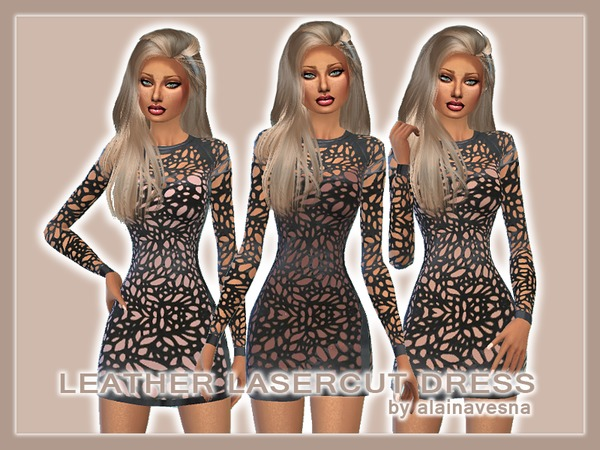 Leather Mini Dresses by alainavesna at TSR image 3621 Sims 4 Updates