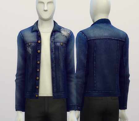 Denim jacket (9 colors) at Rusty Nail image 377 Sims 4 Updates