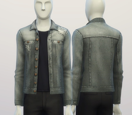 Denim jacket (9 colors) at Rusty Nail image 387 Sims 4 Updates
