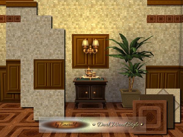 Sims 4 Dark Wood walls and floors by emerald at TSR