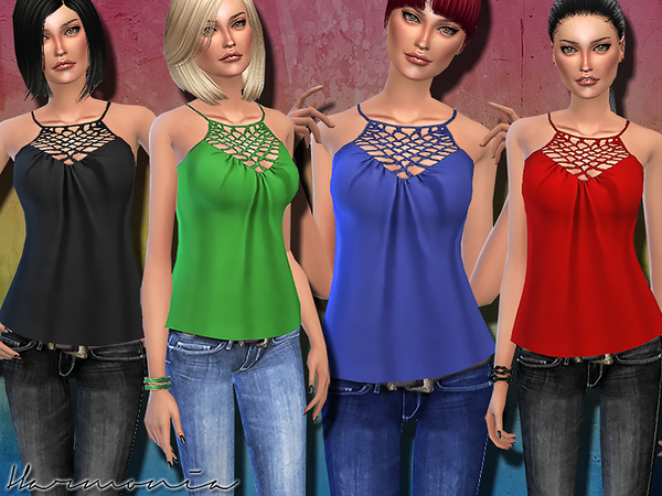 Cami with Cage Detail Halter Neck by Harmonia at TSR image 5024 Sims 4 Updates