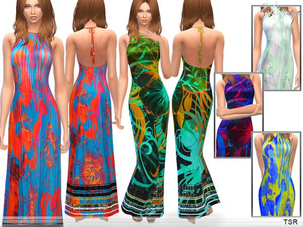 Printed Silk Maxi Dress by ekinege at TSR image 5121 Sims 4 Updates