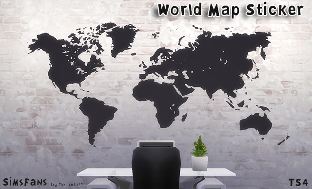 Sims 4 World Map Sticker by Melinda at Sims Fans