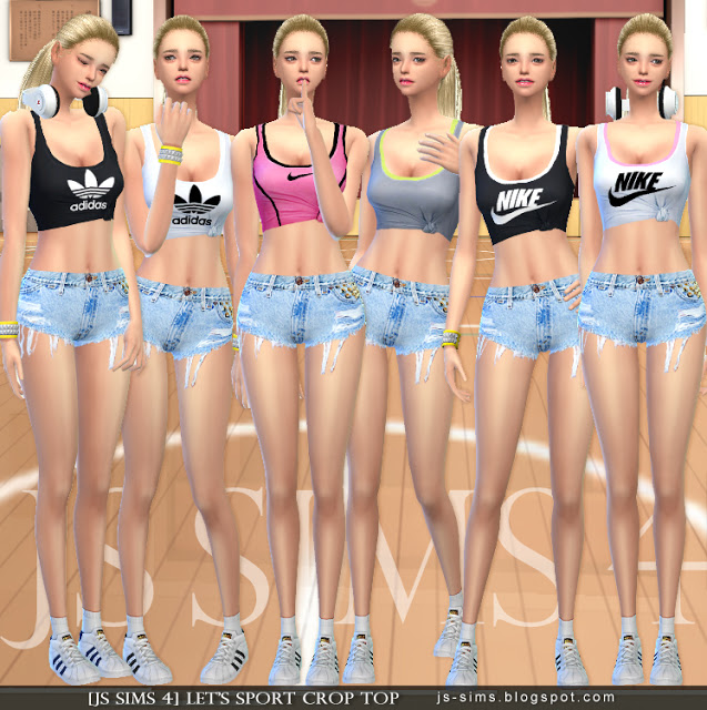 Let's Sport Crop Top at JS Sims 4 » Sims 4 Updates