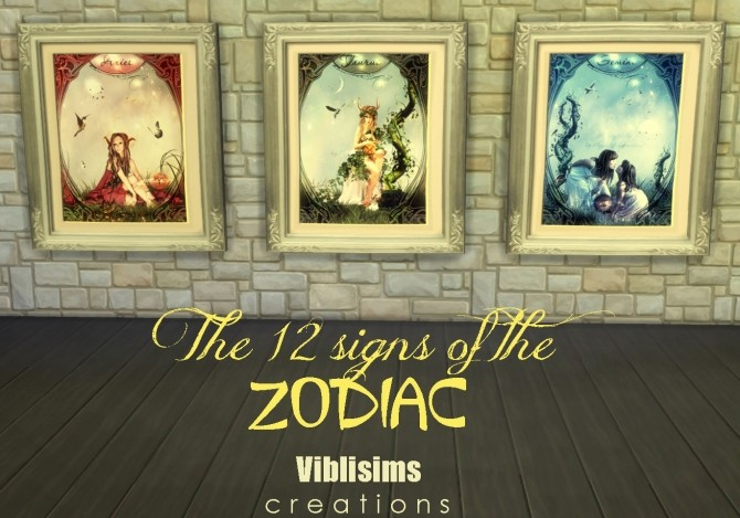 Sims 4 The 12 signs of the Zodiac paintings by ciaolatino38 at Mod The Sims