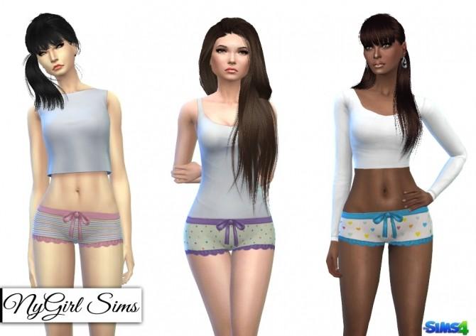Sims 4 Printed Ruffle and Bow Pajama Shorts at NyGirl Sims