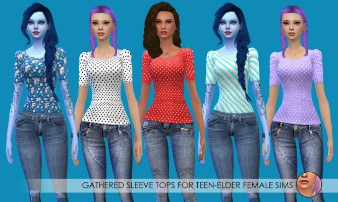 Sims 4 15 Gathered Sleeve Tops at Erica Loves Sims