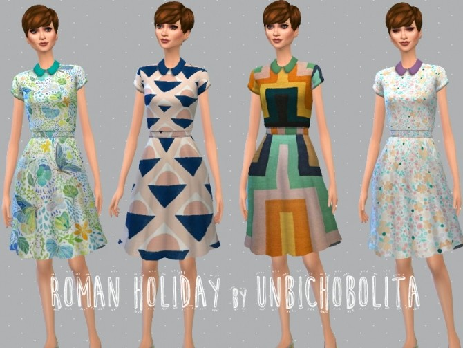 Roman holiday dresses at Un bichobolita image 6815 670x503 Sims 4 Updates