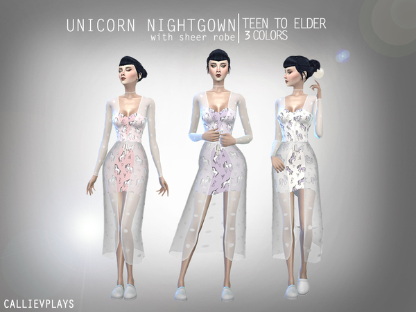 Sims 4 Unicorn Nightgown with sheer robe by Callie V at TSR
