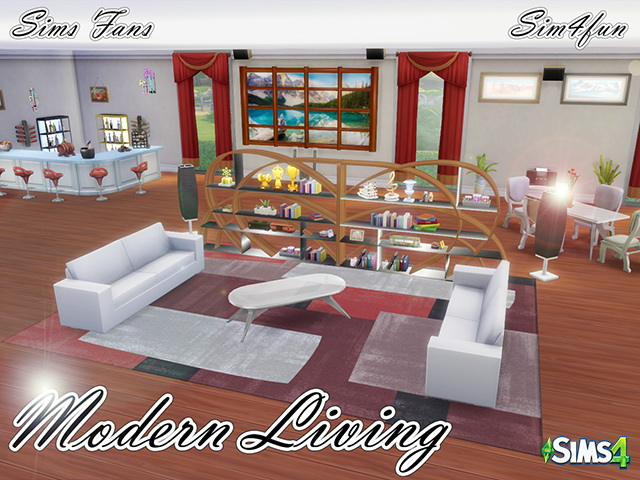 Modern living by sim4fun at sims fans sims 4 updates for Modern living room sims 4