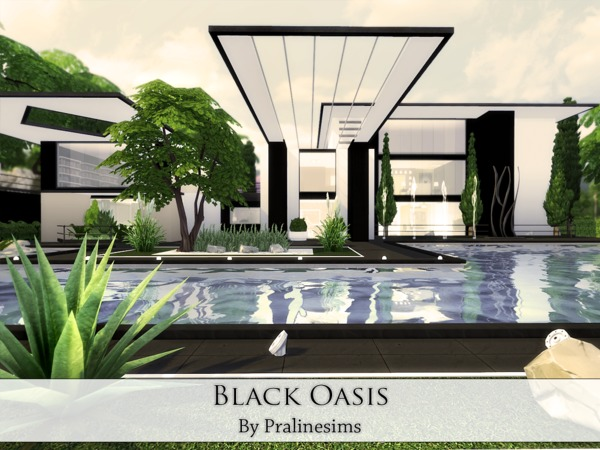 Black Oasis house by Pralinesims at TSR image 716 Sims 4 Updates