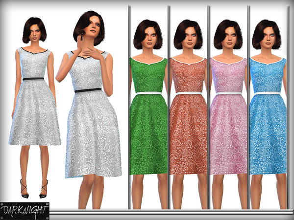 Sims 4 Embroidered Belted Dress by DarkNighTt at TSR