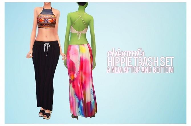 Sims 4 Hippie Trash Halter Top & Mermaid Skirt at Chisami
