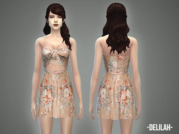 Sims 4 Delilah dress by April at TSR