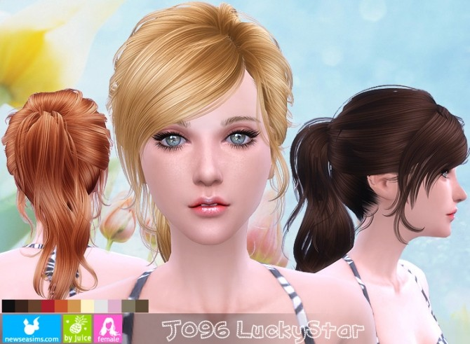 Hairstyles Updates: J096 LuckyStar Hair (Pay) At Newsea Sims 4 » Sims 4 Updates