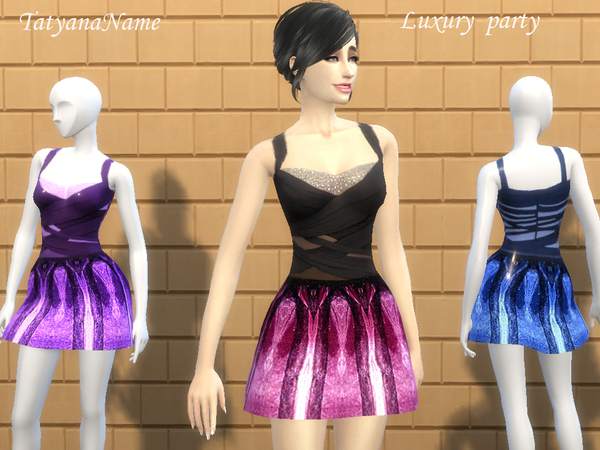 Sims 4 Luxury Party Dress v2 by TatyanaName at TSR