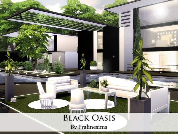 Black Oasis house by Pralinesims at TSR image 816 Sims 4 Updates