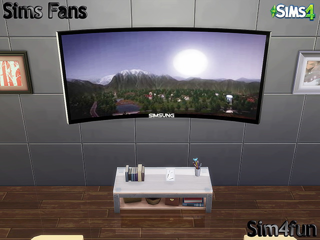 Simsung hd 4k curved tv by sim4fun at sims fans sims 4 for Mods sims 4 muebles