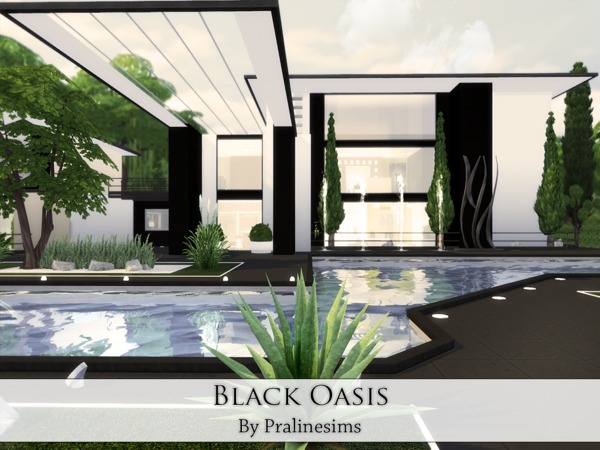 Sims 4 Black Oasis house by Pralinesims at TSR