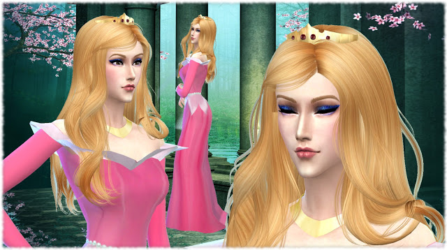 hair styles names sleeping inspired gown and crown at mythical sims 9519 | 9519
