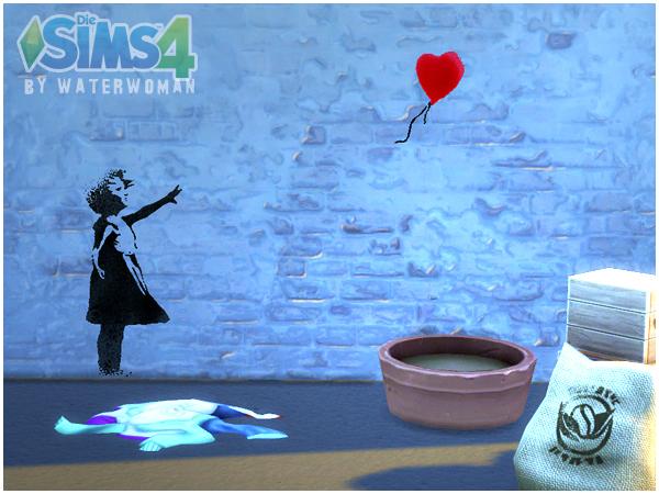 Sims 4 Banksy Graffiti by Waterwoman at Akisima