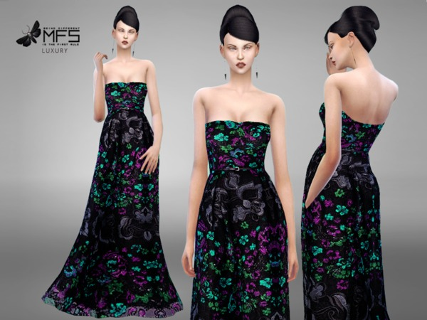 Sims 4 MFS Suzanne Dress by MissFortune at TSR