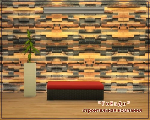 Sims 4 Wooden steny 001 wallpaper at Sims by Mulena