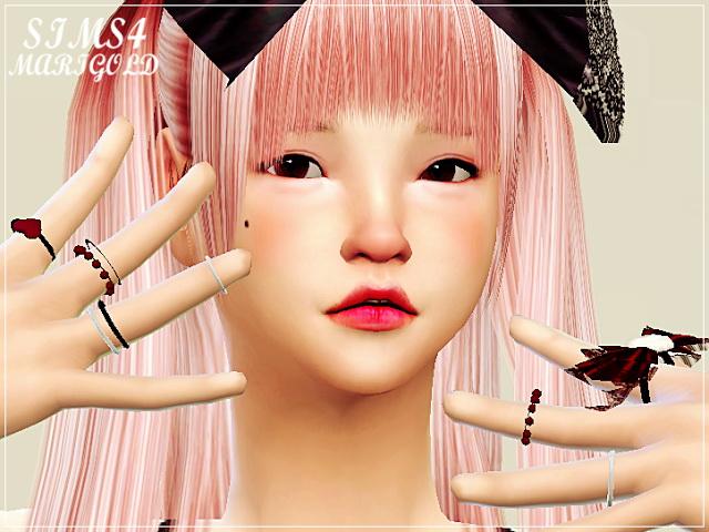 Sims 4 Bow multi ring at Marigold