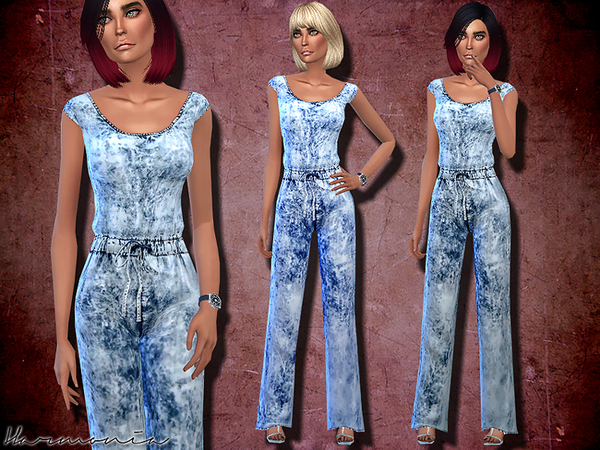 Wash Effect Denim Jumpsuit by Harmonia at TSR image 1068 Sims 4 Updates