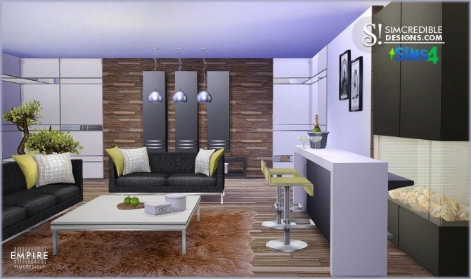 Simcredible designs empire livingroom sims 4 updates for Modern living room sims 4